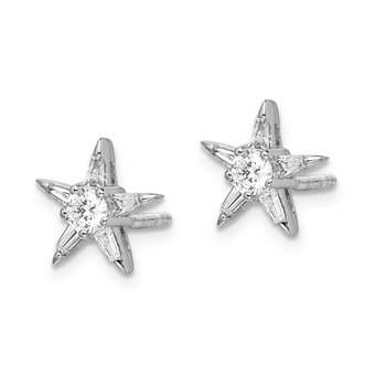 14k White Gold Diamond Star Shaped Earrings