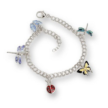 Multi Insects Charm Bracelet.Sterling Silver