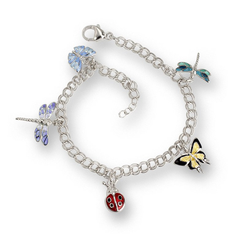 Nicole Barr Designs Multi Insects Charm Bracelet.Sterling Silver