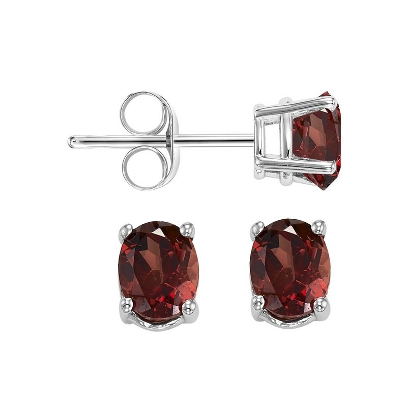 Gems One Oval Prong Set Garnet Studs in 14K White Gold