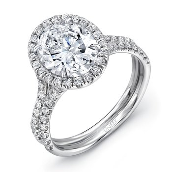 Uneek Oval Diamond Halo Engagement Ring with Pave Double Shank, in 14K White Gold