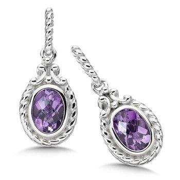 Sterling Silver and Amethyst Earrings