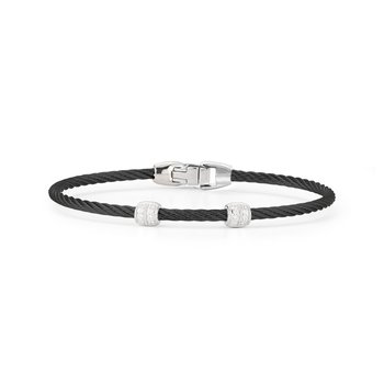 Black Cable Double Station Stackable Bracelet with 18kt White Gold & Diamonds