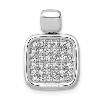 14k White Gold 1/4ct. Diamond Fancy Square Pendant