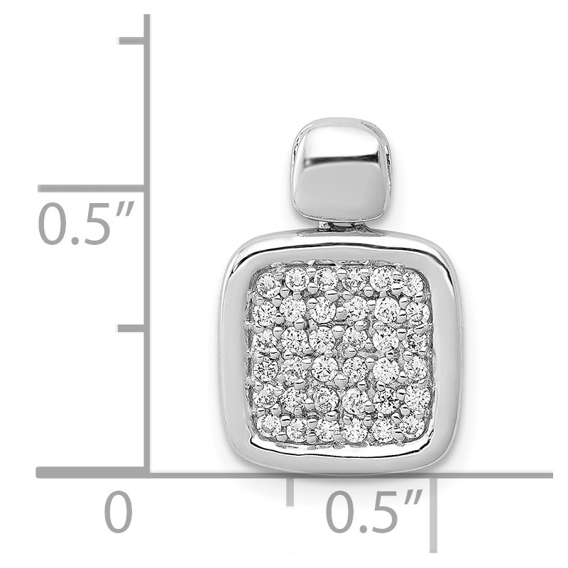 Quality Gold 14k White Gold 1/4ct. Diamond Fancy Square Pendant