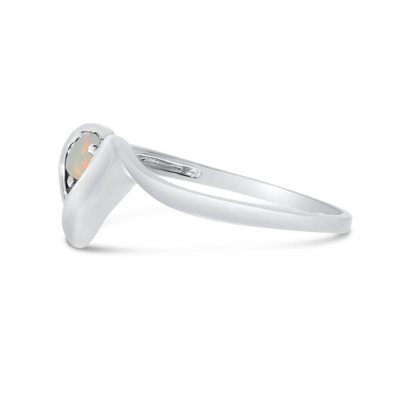 Color Merchants 14k White Gold Round Opal Heart Ring