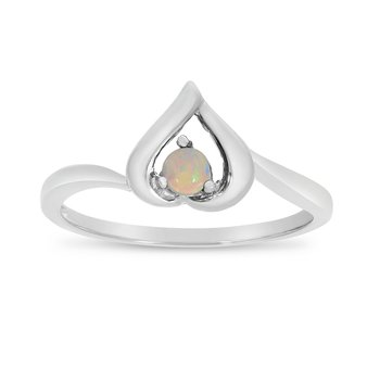 14k White Gold Round Opal Heart Ring