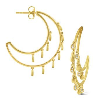 14k Gold and Diamond Charm Hoops