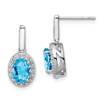 Sterling Silver Rhodium Light Swiss Blue Topaz Oval Post Dangle Earrings
