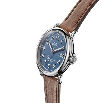 The Runwell 41mm Stainless Blue Dial Leather Strap Watch