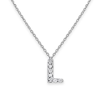 Diamond Bitty Block Initial L Necklace