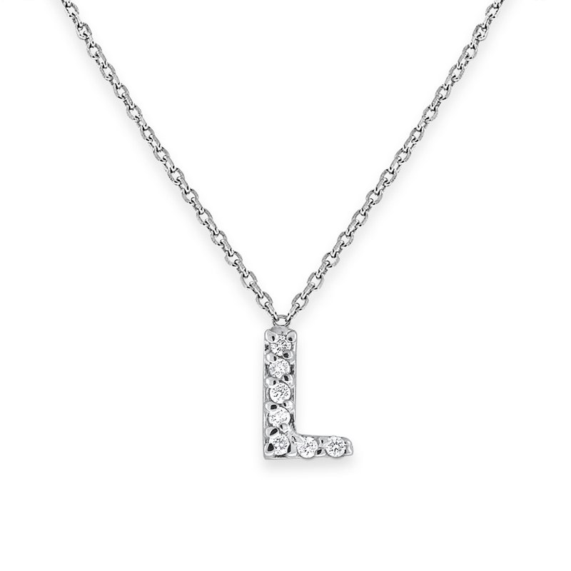 KC Designs Diamond Bitty Block Initial L Necklace