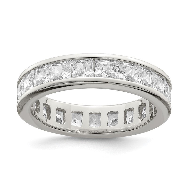 Quality Gold Sterling Silver Rhodium-plated CZ Eternity Band