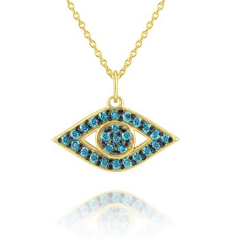 14k Gold and Blue Diamond Evil Eye Necklace