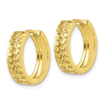 Leslie's 10K Polished Brushed and Hammered Hinged Hoop Earrings
