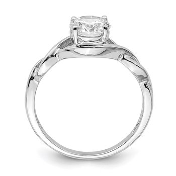 Sterling Silver Rhodium-plated 6.5mm CZ Twisted Ring