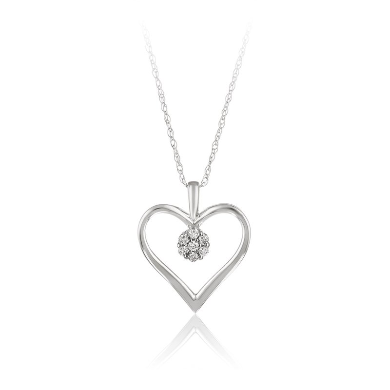 Victor White gold & diamond heart pendant