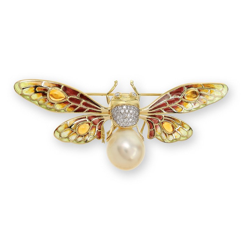 Nicole Barr Designs Yellow Bee Brooch.18K -Diamonds Southsea Pearl and Citrine - Plique-a-Jour