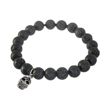 Stainless Steel Lava Beads with Skull Charm. 8.5""