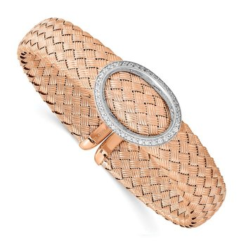 Leslies Sterling Silver CZ Rose Gold-plated Woven Flexible Cuff