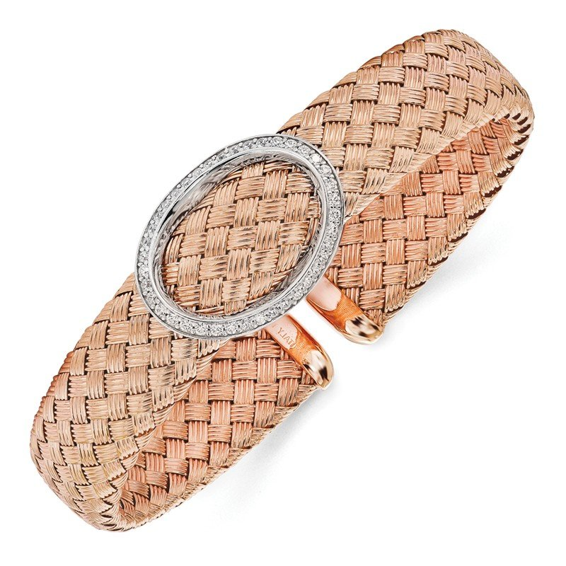 Leslie's Leslie's Sterling Silver CZ Rose Gold-plated Woven Flexible Cuff