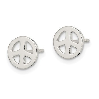 Sterling Silver Peace Sign Post Earrings