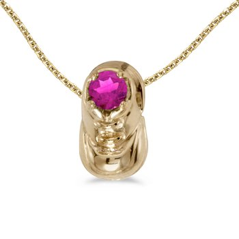 14k Yellow Gold Round Pink Topaz Baby Bootie Pendant