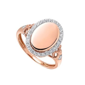 Diamond Vintage Oval Signet Ring in 14k Rose Gold (1/4ctw)