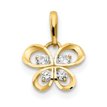 14k CZ Children's Butterfly Pendant