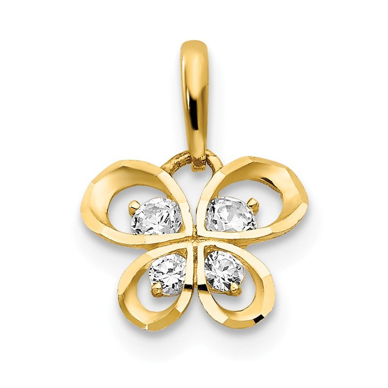 Quality Gold 14k CZ Children's Butterfly Pendant