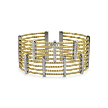 Yellow Cable Petite Precision Cuff with 18kt White Gold & Diamonds