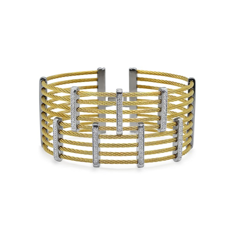 ALOR Yellow Cable Petite Precision Cuff with 18kt White Gold & Diamonds