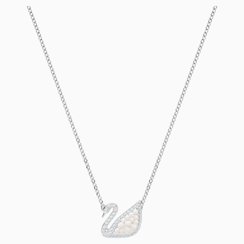 Swarovski Swarovski Iconic Swan Necklace, White, Rhodium plated