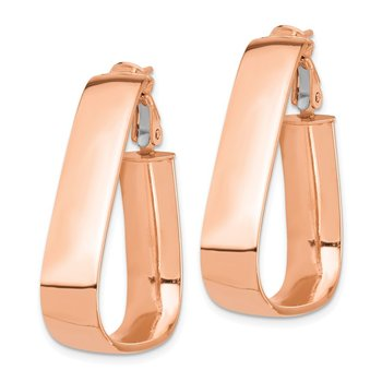 14k Rose Gold High Polished 7mm Triangle Omega Back Hoop Earrings