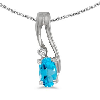 14k White Gold Oval Blue Topaz And Diamond Wave Pendant