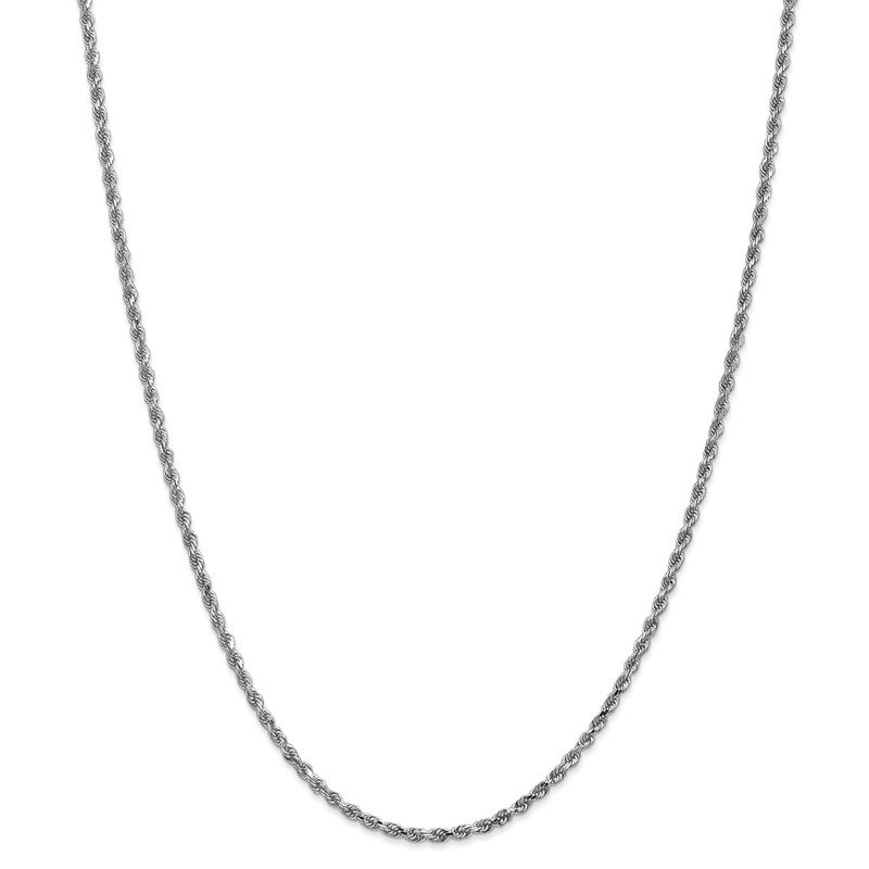 Quality Gold 14k White Gold 2.25mm D/C Rope with Lobster Clasp Chain