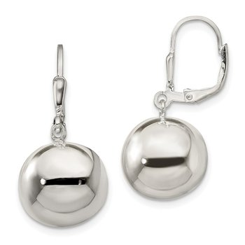 Sterling Silver 14mm Ball Dangle Leverback Earrings