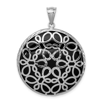 Sterling Silver Rhodium-plated D/C Onyx Pendant
