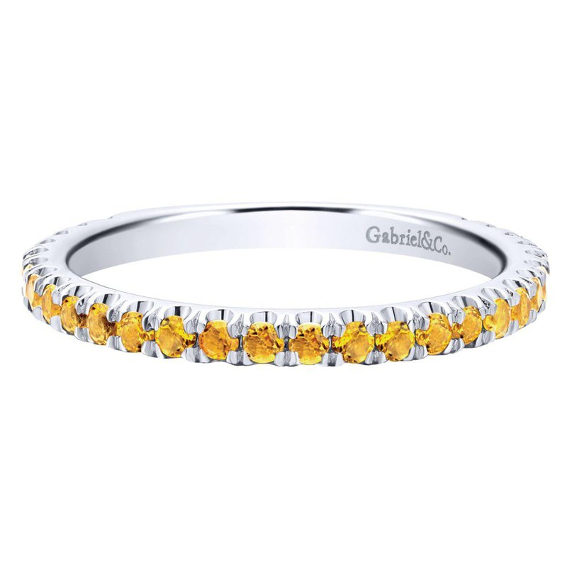 Gabriel Fashion 14k White Gold Pave Citrine Stackable Ladies Ring