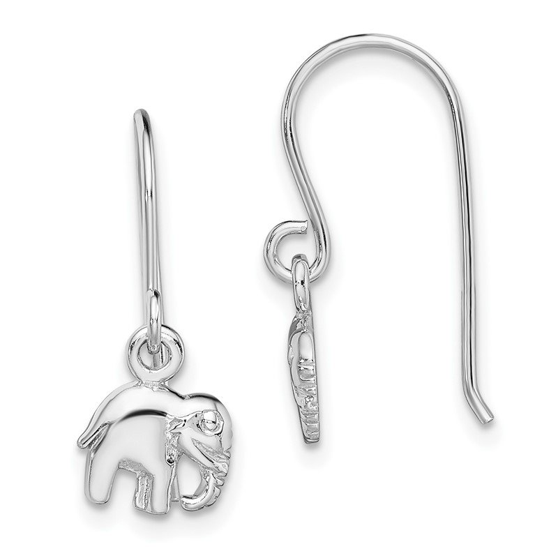 Quality Gold Sterling Silver Rhodium-plated Polished Elephant Dangle Earrings