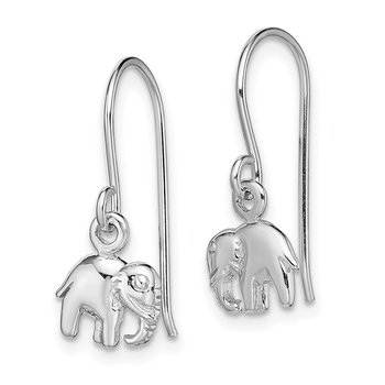 Sterling Silver Rhodium-plated Polished Elephant Dangle Earrings