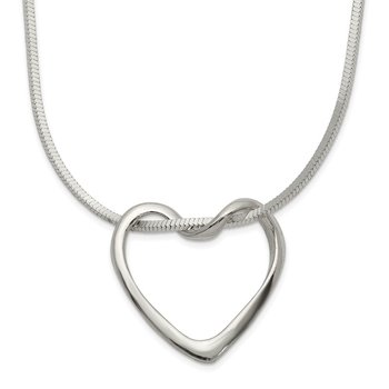 Sterling Silver Floating Heart on Square Snake Chain Necklace