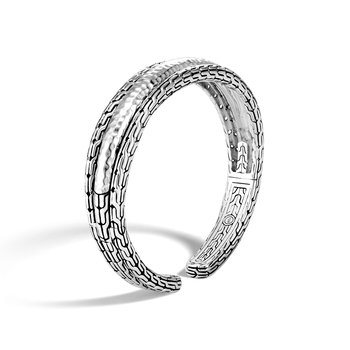 Classic Chain 15MM Cuff in Hammered Silver