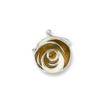 Yellow Round Ring.Sterling Silver-Citrine