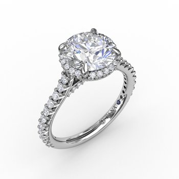 Contemporary Round Diamond Halo Engagement Ring With Geometric Details