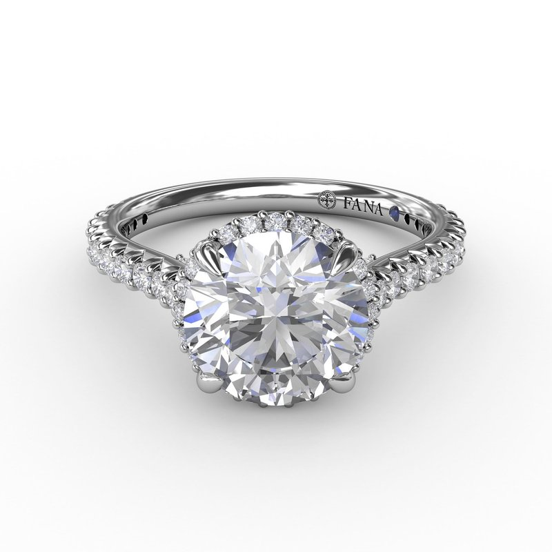 Fana Contemporary Round Diamond Halo Engagement Ring With Geometric Details