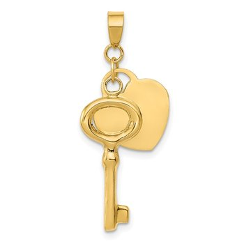 14K Polished Moveable 3-D Heart Dangle Key Charm