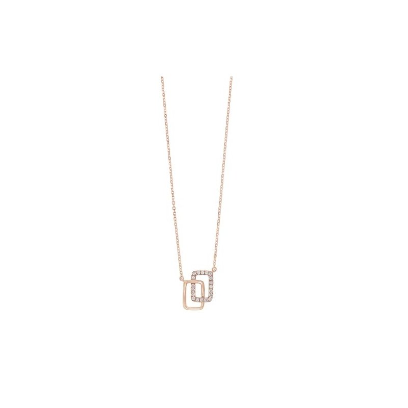 Gems One Diamond Double Eternity Rectangle Pendant Necklace in 14k Yellow Gold (0.08ctw)