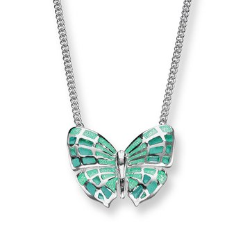 Turquoise Butterfly Necklace.Sterling Silver - Plique-a-Jour