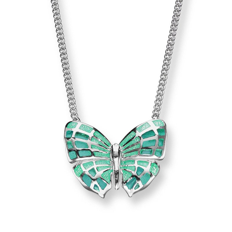 Nicole Barr Designs Turquoise Butterfly Necklace.Sterling Silver - Plique-a-Jour